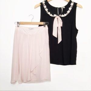 H&M Blush Pleated Skirt Size 4 NWT